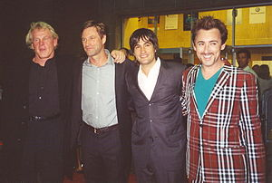 Aaron Eckhart - Nick Nolte, Eckhart, Joshua Michael Stern, and Alan Cumming promoting Neverwas at the 2005 Toronto International Film Festival.