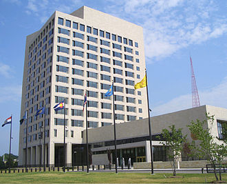 The Federal Reserve Bank of Kansas City services the western portion of Missouri, as well as all of Kansas, Oklahoma, Nebraska, Wyoming, Colorado, and northern New Mexico. New Federal Reserve Bank Kansas City MO.jpg