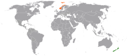 Map indicating locations of New Zealand and Norway