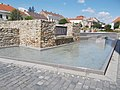 New fountain (2012) and castle remains, Keszthely 2016 Hungary.jpg