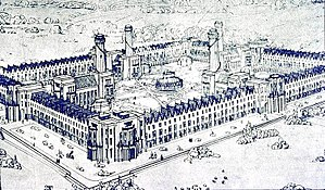Consumers' co-operative - Model of Robert Owen's visionary project for a cooperative settlement. Owenites fired bricks to build it, but construction never took place.