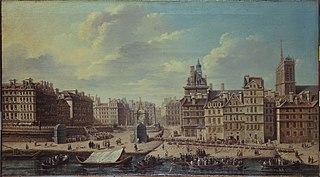 Place de Grève et décorations pour le feu d'artifice à l'occasion de la naissance de la princesse Marie-Thérèse, fille du Dauphin