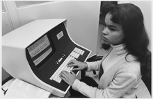 Using an NCR 796-201 cathode-ray terminal, circa 1972.