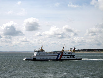 Föhr - The MS Nordfriesland VI, a car and passenger ferry from the Wyker Dampfschiffs-Reederei Föhr-Amrum (W.D.R.) leaving Föhr.