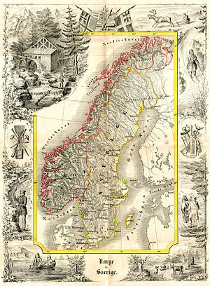 Sweden in Union with Norway - Norway and Sweden, 1847. Map by Peter Andreas Munch