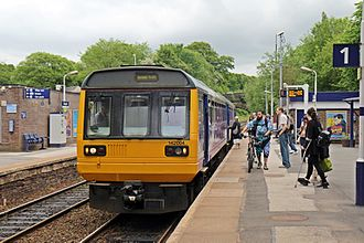 Marple railway station - Northern Class 142 Pacer unit 142004 calls at the station in 2015