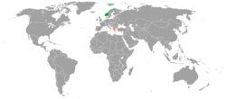 Map indicating locations of Norway and Greece