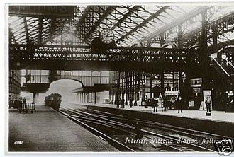 Nottingham Victoria railway station - Station interior in the years after opening.