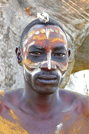 Nuba peoples - Nuba man with body painting