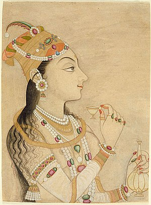 Nur Jahan - Idealized portrait of the Mughal empress Nur Jahan