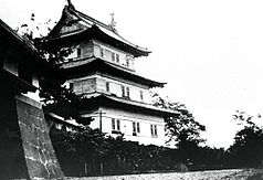 Old Matsumae Castle keep tower in 1935.jpg