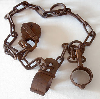 Physical restraint - Iron wrist shackles with chains and padlock; Germany ca. 17th century