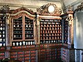 Old pharmacy shelves with bottles in exposition History of pharmacies in Kuks Hospital in Kuks, Trutnov District.jpg