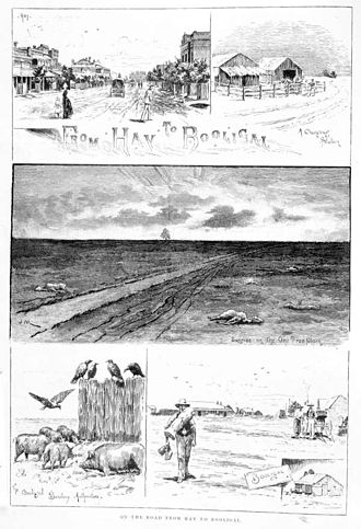 Hay and Hell and Booligal - A wood engraving in the Illustrated Australian News in 1889 showing the effects of a drought in the region between Hay and Booligal
