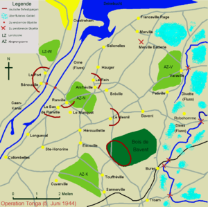 1st Canadian Parachute Battalion - Map showing the DZ and Battalion objectives on the rivers Dives and Divette.