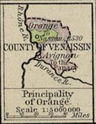 Comtat Venaissin - Map showing the Comtat and the Principality of Orange in 1547
