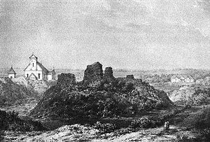 Goštautai - Napoleon Orda's drawing of the ruined Gieraneny Castle of the Goštautai in the modern-day Hrodna Voblast, Belarus.