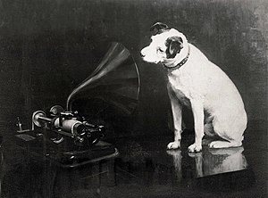 Horn loudspeaker - Francis Barraud's original painting of Nipper looking into an Edison Bell cylinder phonograph.