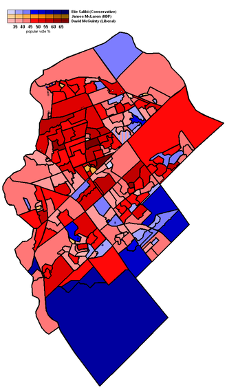 Ottawa South - 2011 election popular vote map by polling division