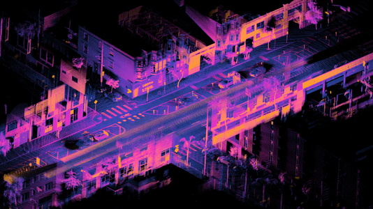 Point cloud of a street intersection using a lidar mounted on a car