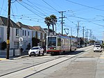 Outbound train at 46th Avenue and Vicente, June 2018.JPG