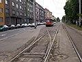Předjízdná kolej Podbaba, tramvaj s výhybkou.jpg