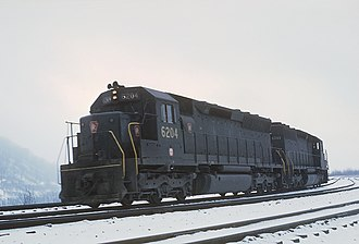 PRR EMD SD45 freight locomotive PC 6204 and 6040 (SD45 and SD40) pushers on Horseshoe Curve, PA on February 23, 1969 (22479510726).jpg