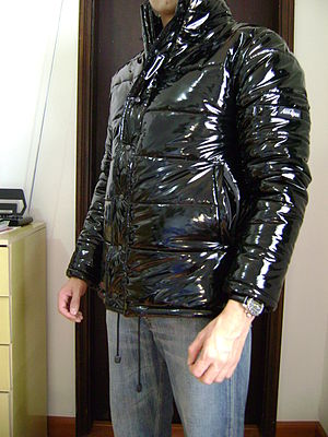 PVC clothing - Men's black PVC down jacket