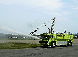Aircraft rescue and firefighting - A demonstration of an airport crash tender's abilities at the Portland International Jetport.