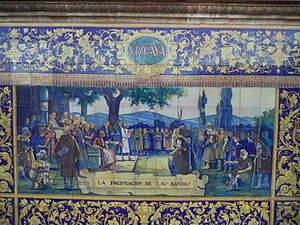 War of the Bands - The pacification of the sides on the Banco de Vizcaya at the Plaza de España in Sevilla.