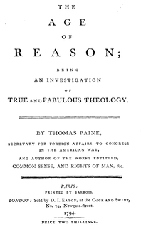 <i>The Age of Reason</i> compilation of deistic pamphlets by Thomas Paine