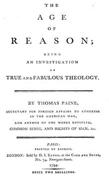 Title page from the first English edition of Part I - Age of Reason