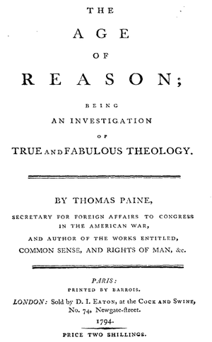 The Age of Reason - Title page from the first English edition of Part I