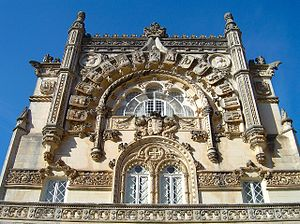Buçaco Palace - Detail of the Neo-Manueline façade of Palace Hotel of Bussaco (Casa dos Brasões).