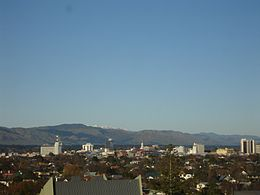 Palmerston North city centre from Palmerston North Hospital.