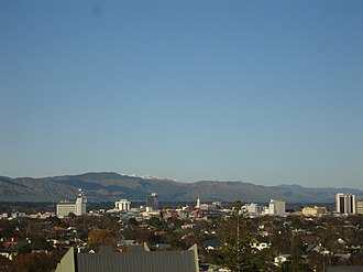 Palmerston North - Looking southeast towards Palmerston North city centre from Palmerston North Hospital. In the distance is Tararua Range.