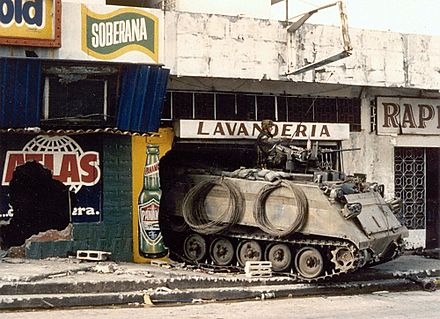 A US Army M113 in Panama in 1989 PanamaM-113JustCauseUS-Invasion.jpg