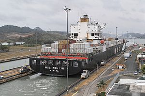 Panama Canal - The panamax ship MSC Poh Lin exiting the Miraflores locks, March 2013