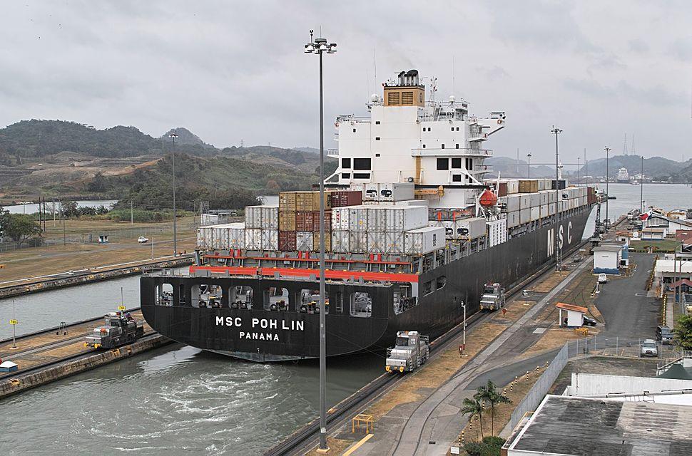 Panamax ship exiting the Miraflores locks