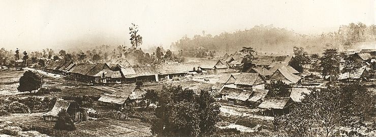 Part of a panoramic view of Kuala Lumpur c. 1884. To the left is the Padang. The buildings were constructed of wood and atap before regulations were enacted by Swettenham in 1884 requiring buildings to use bricks and tiles. The appearance of Kuala Lumpur transformed rapidly and greatly in the following years. Panorama of Kuala Lumpur ca. 1884.jpg