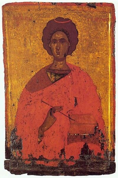 Saints et Saintes du jour - Page 6 400px-Panteleimon_by_Byzantine_anonymous_%2815th_c.%2C_Pushkin_museum%29