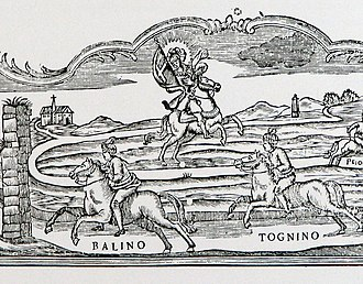 Palio di Asti - The ancient course of the Palio, from an 18th-century engraving. The ancient church of San Lazzaro and the cippo del pilone (stone pylon - the starting point of the race) are visible in the background; San Secondo of Asti, to whom the race is dedicated, is in the center, and in the foreground two competitors are about to enter the city through the gate of San Pietro.