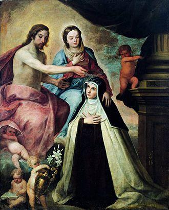 Mary Magdalene de' Pazzi - Vision of Saint Mary Magdalene de Pazzi by Pedro de Moya (ca. 1640)