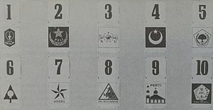 Indonesian legislative election, 1971 - The symbols and ballot paper numbers of the organizations participating in the 1971 general election