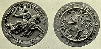 "Henry de Percy, 1st Baron Percy - Seal of Henry Percy from the Barons' Letter, 1301, which he signed as Henricus de Percy, D(omi)n(u)s de Topclive (Henry de Percy, Lord (feudal baron) of Topcliffe). His seal bears the legend: SIGILLUM HENRICI DE PERCY /SIGILLUM HENRICI DE PERCI (""seal of Henry de Percy"")"