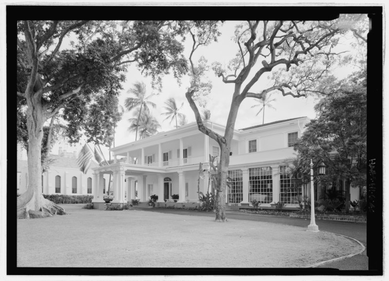 File:Perspective view of makai elevation, looking ewa-mauka - Washington Place, 320 South Beretania Street, Honolulu, Honolulu County, HI HABS HI,2-HONLU,28-40.tif