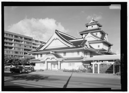 The Makiki Christian Church in Honolulu heavily draws upon Japanese architecture. Perspective view of northwest elevation - Makiki Christian Church, 829 Pensacola Street, Honolulu, Honolulu County, HI HABS HI-533-1.tif
