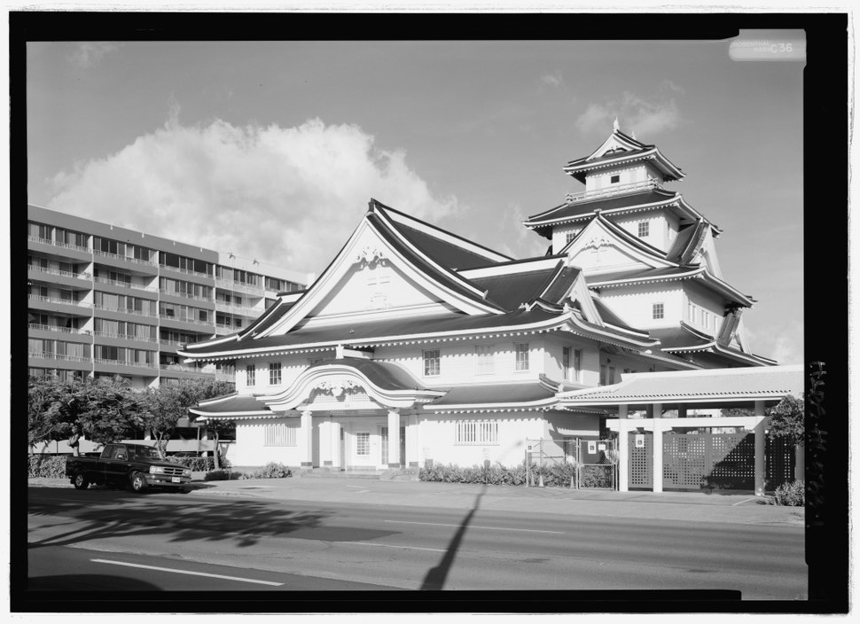 Perspective view of northwest elevation - Makiki Christian Church, 829 Pensacola Street, Honolulu, Honolulu County, HI HABS HI-533-1