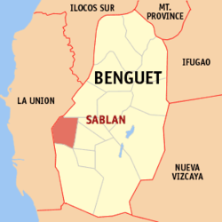 Map of Benguet showing the location of Sablan