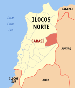 Map of Ilocos Norte showing the location of Carasi